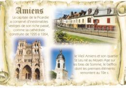 80 AMIENS - CAPITALE DE LA PICARDIE / TEXTE SUR PARCHEMIN - MULTIVUES - Amiens