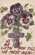 AR71 Greetings - God Be With You Till We Meet Again - Flowers Cross, Glitter - Holidays & Celebrations