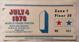 OLD VINTAGE TICKET WORLD TRADE CENTER NEW YORK ZONE I FLOOR 20 1976 RRR - Tickets - Entradas
