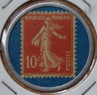 Timbre Monnaie  10 Centimes Crédit Lyonnais Rouge Sur Fond Bleu - Monetary / Of Necessity