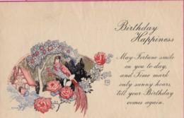 AS95 Greetings - Birthday Happiness - Flowers, Bird, Tree - Plain Back - Birthday
