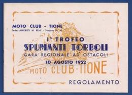 TIONE TRENTO MOTOCICLISMO OPUSCOLO  I°TROFEO SPUMANTI TORBOLI 1952 - Deportes