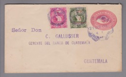 Guatemala 1893-10-21 GS 10 Cents + Zusatzfrankatur - Guatemala