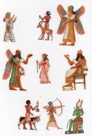 CHROMO Découpis Gaufrée Mythologie Egyptienne Egypte Antique Dieux Déesses Animaux Musique Harpe Arc Flêche (9 Chromos) - Cromo