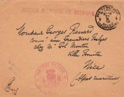"""Brief """"Justice Mil.de Belgique"""" En """"Auditoriat Militaire De La Base Belge"""" BLP 4 Naar Nice 1918. - Armée Belge"""