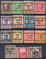 USA Precancels, 15 Stamps - Vorausentwertungen