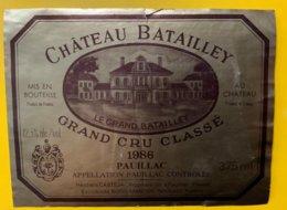 11844  - Château Batailley 1986 Pauillac - Bordeaux