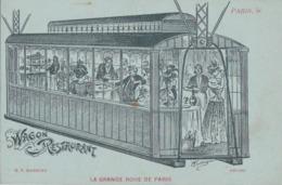 PARIS EXPOSITION 1900  LA GRANDE ROUE Lithographie L' Heure Du Repas Au WAGON RESTAURANT Champagne Au Frais - Ausstellungen