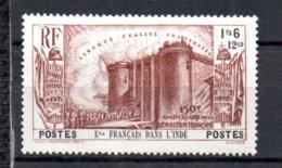 Ets Français Dans L'Inde N° 119 Luxe ** - 1939 150e Anniversaire De La Révolution Française