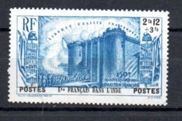 Ets Français Dans L'Inde N° 122 Luxe ** - 1939 150e Anniversaire De La Révolution Française