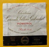 11849  -  Château Grands Sillons Gabachot 1982 Pomerol - Bordeaux
