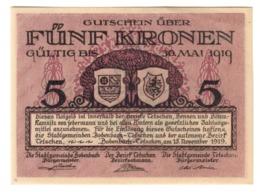 Austria Notgeld BOHEMIA & MORAVIA - BODENBADCH UND TETSCHEN 5 Kronen AUNC - Austria