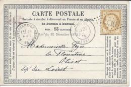 1875 Cachet Gros Chiffre 3330, SAUVETERRE DE BEARN, Cérès 15 Centimes Sur CARTE POSTALE Pour Olivet, Loiret - 1871-1875 Cérès