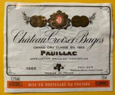 11853  -  Château Croizet-Bages 1989 Pauillac - Bordeaux