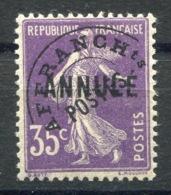 RC 14149 FRANCE N° 62 CI1 - PRÉO 35c SEMEUSE SURCHARGÉ ANNULÉ COTE 224€ NEUF * TB - Cursussen