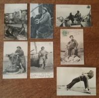 Bateaux De Pêche, Vie à La Mer, Du Pêcheur, Matelot Baigneur - Lot De 7 Cartes Toutes Photographiées R/V - Pêche