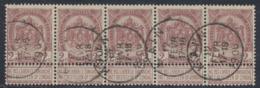 """Fine Barbe - N°55 En Bande De 5 Obl Simple Cercle """"Kain"""". TB - 1893-1900 Barbas Cortas"""