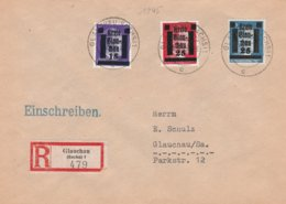 Local Issues Glauchau 15,25 Red + 25 Blue On Registered Cover 1945 - Arrival Mark On Reverse. - Germany