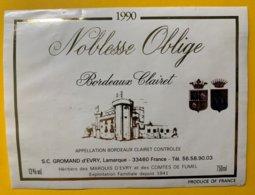 11870 - Noblesse Oblige 1990 Bordeaux Clairet - Bordeaux
