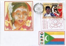 Timbre Brett Aitken,Olympic Gold Medalist,  Sur Lettre Du Pavillon Des Comores à L'Expo Universelle Milano 2015 - Isole Comore (1975-...)