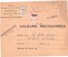 GABES Tunisie Devant Enveloppe Régence De Tunisie 1494 Reco Ob 2 7 28 Taxe Yv 57 58 Preo PARIS - Postage Due