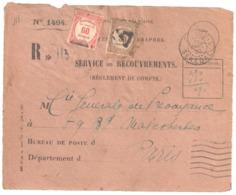 St LOUIS Sénégal Devant Enveloppe 1494 Reco Ob 11 3 1930 Taxe Yv 57 58 Preo PARIS - Covers & Documents