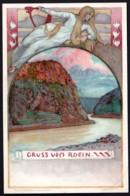 CPA PRECURSEUR ALLEMAGNE SERIE DE 1898- ILLUSTRATEUR FRANZ HEIN- VILLES ET MONUMENTS SUR LE RHIN : FEMME STYLE 1900 - Andere Illustrators