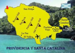 1 MAP Of Columbia * 1 Ansichtskarte Mit Der Landkarte Der Inseln Providencia Und Santa Catalina - Karibik Zu Kolumbien * - Carte Geografiche