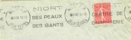 France. Flamme. Niort. Centre De Chamoiserie. Peaux. Gants. 1928 - Postmark Collection (Covers)