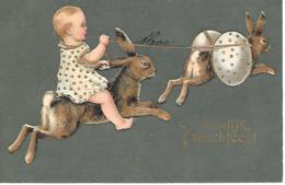 Easter Bunny, Lapin De Pâques, Osterhase, Oeuf De Pâques, Easter Egg, Child, Enfant / Golden Details, Embossed, Gaufré - Pasen