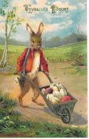 Easter Bunny Dressed, Lapin De Pâques, Osterhase, Oeuf De Pâques, Easter Egg, Pushcart / Embossed, Gaufré - Pasen