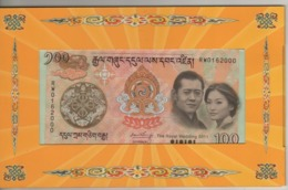 "BHUTAN  100 Ngultrum     P35   2011 ""Royal Wedding"" Commemorative  Issue  With Folder - Bhutan"