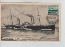 PR7397/ TP 726 Centenaire Malle Ostende-Douvres S/Carte Maximum C.Centenaire Ostende-Douvres Cockerill Hoboken 10/7/46 - 1934-1951