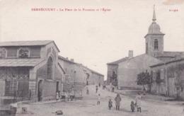 F54-088 BERNECOURT - LA PLACE DE LA FONTAINE ET L'EGLISE - ENFANTS ET RIVERAINS - Andere Gemeenten