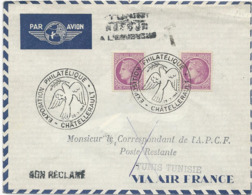 LETTRE PAR AVION 1946 AVEC CACHET EXPOSITION PHILATELIQUE CHATELLERAULT - Matasellos Conmemorativos