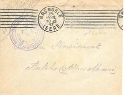 38-cachet Hôpital N°60 Bis -Soeurs De St Vincent De Paul -Grenoble Sur Lettre De 1917 - Marcophilie (Lettres)