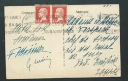 Type Pasteur, N° 175 X 2  Au Dos D'une Cpa Pour L'egypte En 1926  -  Vab51 - 1922-26 Pasteur