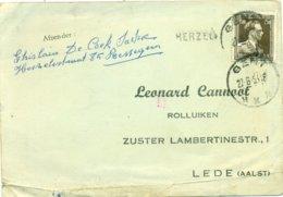 Langstempel Herzele 1954 - Verstuurd Door Iemand Uit Ressegem Gericht Aan Leonard Cannoot Te Lede - Poststempel