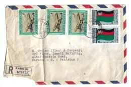 Afghanistan Registered Airmail 1966 Reptile Caucasian Agama Strip Of 4, 1975 Independence Day Afghan Flag - Afganistán