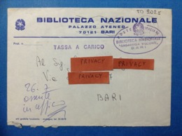 BUSTA PUBBLICITARIA BIBLIOTECA PALAZZO ATENEO BARI SAGARRIGA VISCONTI TASSATA CON QUARTINA 100 LIRE SEGNATASSE - 6. 1946-.. Repubblica
