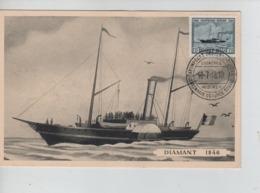 PR7398/ TP 727 Centenaire Malle Ostende-Douvres S/Carte Maximum C.Centenaire Ostende-Douvres Cockerill Hoboken 10/7/46 - 1934-1951