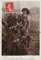 """CARTE FANTAISIE .CPA GLACEE . FEMME DANS UN CHAMP   """" LA MOISSON DE L'AMOUR EST FAITE """". ANNEE 1908 + TEXTE - Femmes"""