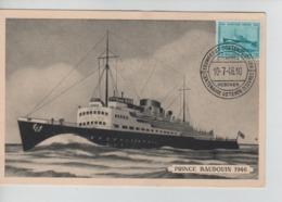PR7399/ TP 725 Centenaire Malle Ostende-Douvres S/Carte Maximum C.Centenaire Ostende-Douvres Cockerill Hoboken 10/7/46 - 1934-1951