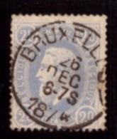 """Belgique 1869-83 - """" BRUXELLES""""  Leopold II 20c - 1869-1883 Léopold II"""