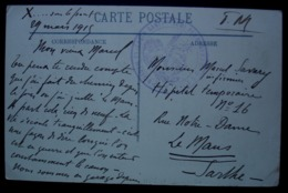 Train Sanitaire Semi Permanent N° 8 A.P.L.M 1915 Carte De Verdun, La Citadelle Pour Le Mans - Marcofilie (Brieven)