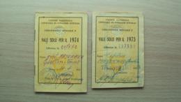 2 TESSERE RIDUZIONE FERROVIARIA MILITARI UNIONE NAZIONALE UFFICIALI IN CONGEDO D'ITALIA - Vecchi Documenti