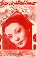 PARTITION ZARAH LEANDER - CHAQUE SOIR J'ATTENDS L'AMOUR - 1943 - DU FILM LE FOYER PERDU - EXC ETAT PROCHE DU NEUF - - Otros