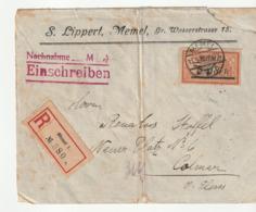 Lettre Recommandée Memel --> Colmar Avec Merson Surchargé , 1922 - Memel (1920-1924)