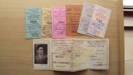 TESSERA DI RICONOSCIMENTO MILITARI UNIONE NAZIONALE UFFICIALI IN CONGEDO D'ITALIA + 6 CEDOLE RINNOVO - Vecchi Documenti