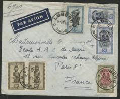"""CONGO BELGE """"LUBERO"""" Obl. Cachet à Date Sur N° 282 + 286A + 288A (x2) + 289. Sur Enveloppe Par Avion Pour La France. - Belgian Congo"""